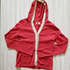 Anthropologie Moth Red Button Front Hood Cardigan